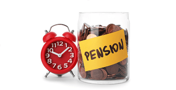 "a red alarm clock sitting next to a glass jar pull of pennies labeled ""pension"""